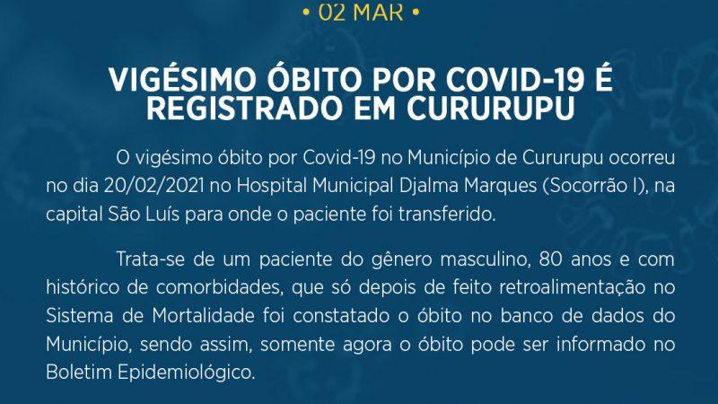 Cururupu tem o vigésimo óbito confirmado em recorrência da Covid-19