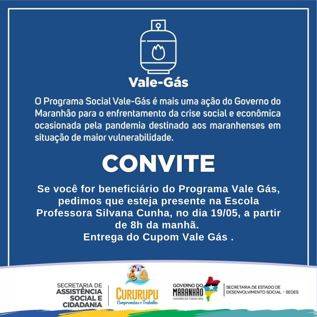 Confira o local e data da entrega do Vale Gás em Cururupu