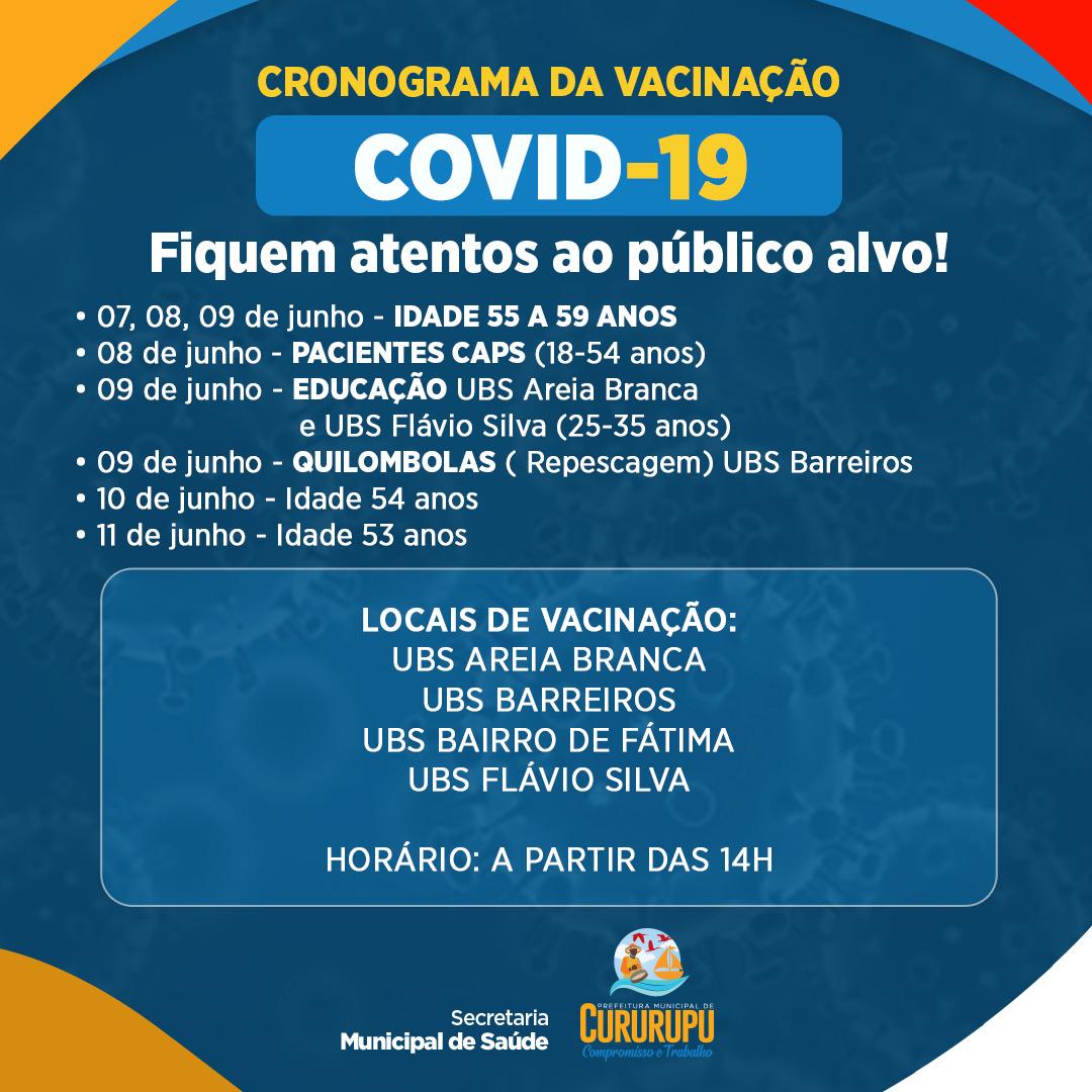 Prefeitura de Cururupu anuncia novo calendário de vacinação contra Covid-19; idade a partir de 55 anos