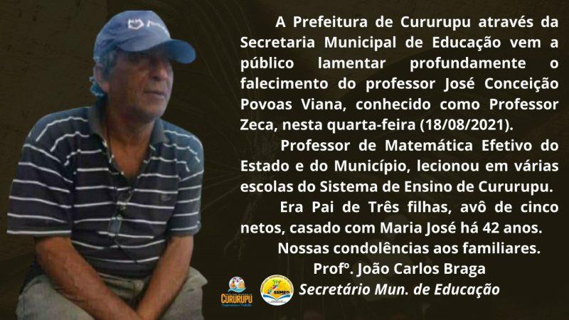 NOTA DE PESAR PELO FALECIMENTO DO PROFESSOR  ZECA